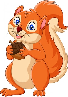 Esquilo de desenhos animados segurando porca