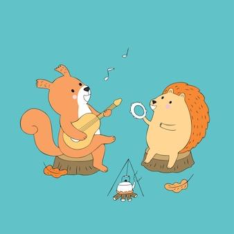 Esquilo de outono bonito dos desenhos animados e ouriço tocando música