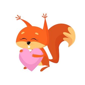 Esquilo doce bebê segurando coração rosa