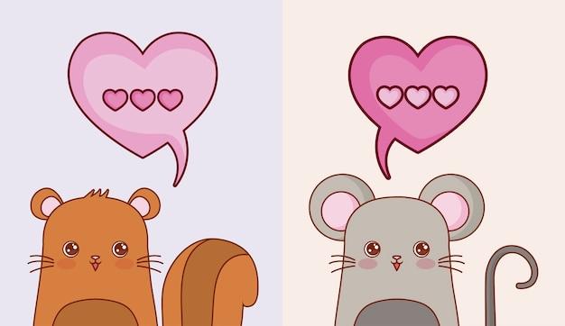 Esquilo e rato kawaii