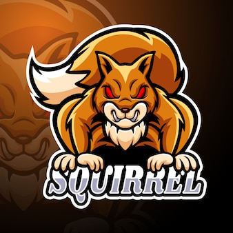 Esquilo esport logotipo mascote modelo
