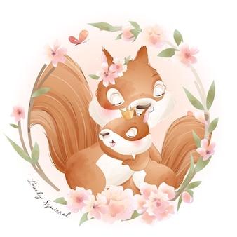 Esquilo fofinho com ilustração em aquarela floral