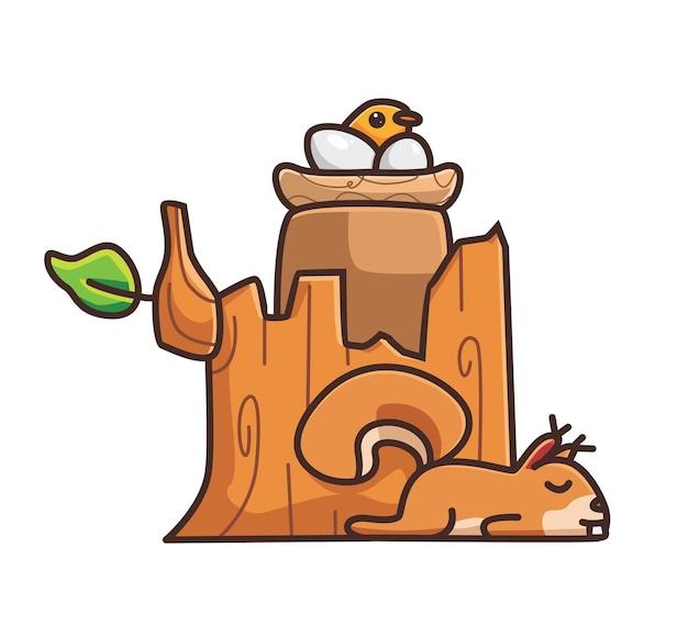 Esquilo fofo adormecido perto do tronco de árvore, ninho de pássaro, ovos, incubação, desenho animado, natureza animal, conceito, isolado