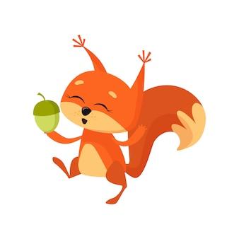Esquilo fofo alegre segurando porca e dança