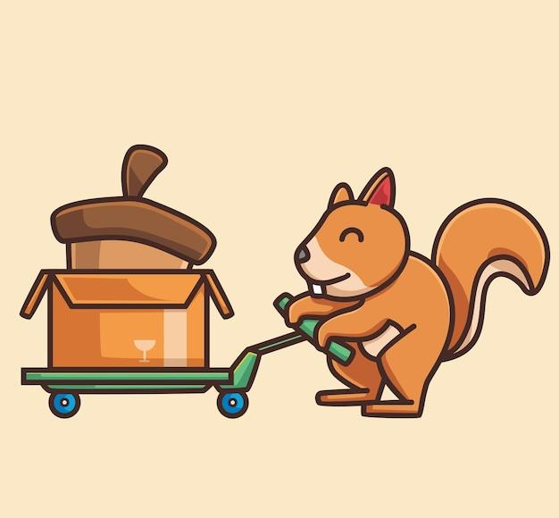 Esquilo fofo compre a porca gigante animal plano desenho animado estilo ilustração ícone premium vetor logotipo
