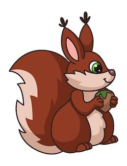 Esquilo fofo. coque cartoon com noz em pavimentos