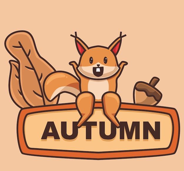 Esquilo fofo sentar-se a bordo dos desenhos animados animal conceito da estação do outono ilustração isolada estilo simples