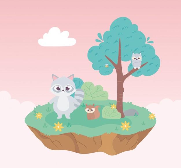 Esquilo guaxinim bonito e coruja animais dos desenhos animados em pé prado árvore e flores natureza