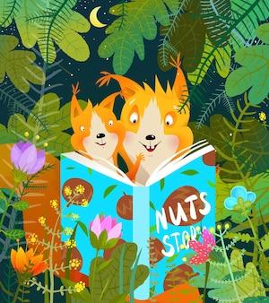 Esquilo mãe e bebê na floresta lendo livro de histórias para seu filhote estudando e aprendendo.