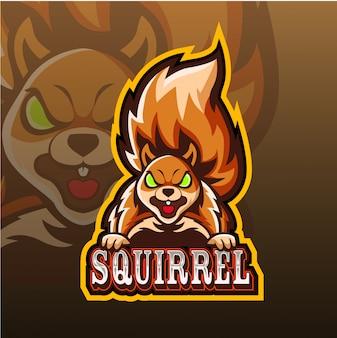 Esquilo mascote esport logotipo