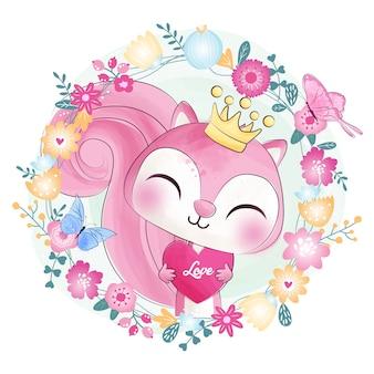 Esquilo pequeno bonito com flor