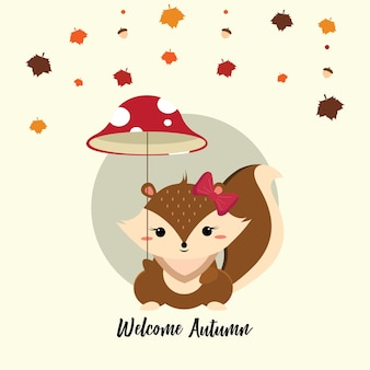 Esquilo pequeno bonito segurando um guarda-chuva de cogumelo