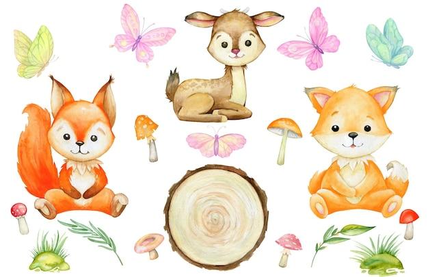 Esquilo, raposa, veado, cogumelos, borboletas. conjunto de aquarela, animais da floresta, em um fundo isolado.