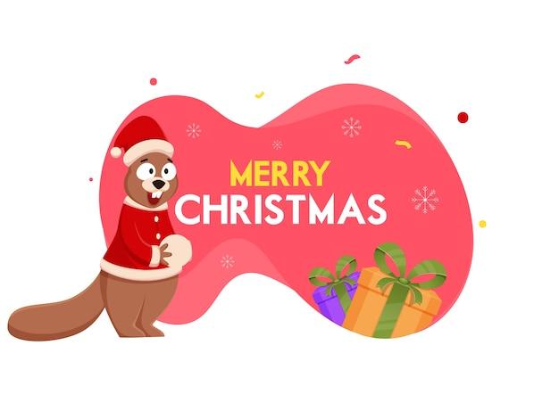 Esquilo segurando bola de neve com roupas de papai noel e caixas de presente em fundo vermelho e branco para a celebração do feliz natal.