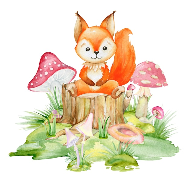 Esquilo, um animal bonito em estilo cartoon. Vetor Premium