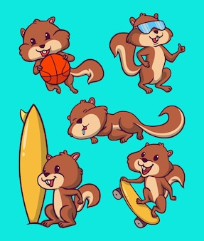 Esquilos de desenho animado de animais jogam basquete, usam óculos de proteção, dormem, surfam e fazem skate mascote bonito ilustração