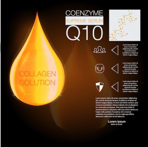 Essência de gota de óleo de colágeno suprema com hélice de dna. conceito de fundo pele cuidados cosméticos.