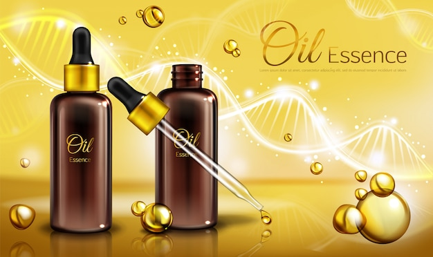 Essência de óleo em garrafas de vidro marrom com pipeta e líquido amarelo em gotículas, manchas.