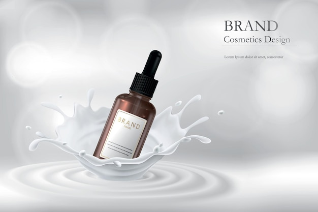 Essência para pele em respingos de leite. ilustração com uma imagem realista de cosméticos.