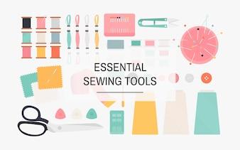 Essencial, ferramentas sewing, ícone, ilustração