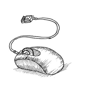 Esta é uma ilustração de esboço desenhado à mão de um computador mouse