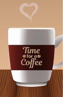 Está na hora de um café, letras na xícara com coração