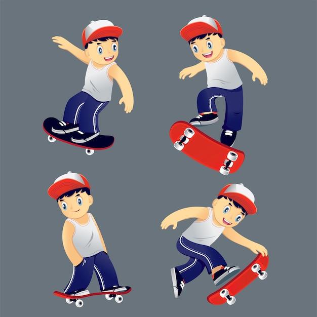 Estabeleça o jovem montando em um skate, ilustração vetorial rick diferente