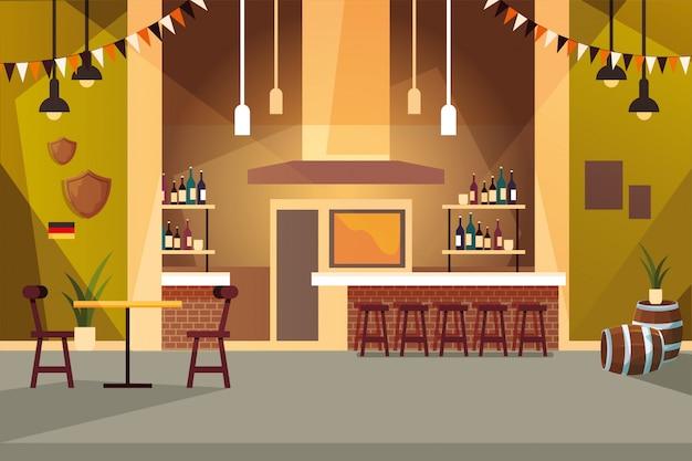 Estabelecimento de bebidas e prateleiras com garrafas de álcool