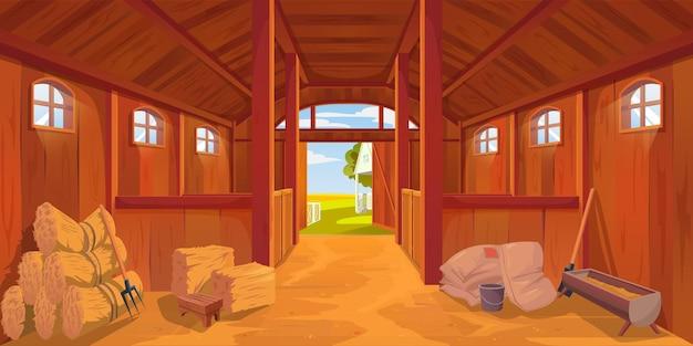 Estábulo de fazenda ou interior de celeiro com piso de areia, palheiros de feno de desenhos animados de vetor em rancho de madeira. casa de fazenda ou estábulo dentro de um fundo vazio, baias de cavalos ou celeiro agrícola e cabana de fazenda