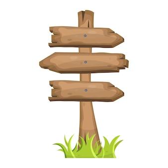 Estaca de madeira com placas de direção
