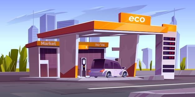 Estação carregadora para carro elétrico com display de mercado e preços