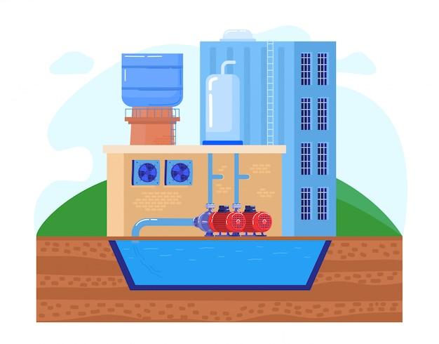 Estação de bomba de água na ilustração da fábrica industrial, bombas de indústria plana dos desenhos animados levam água limpa do reservatório do tanque