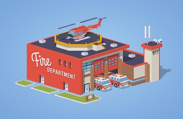 Estação de bombeiros baixa poli