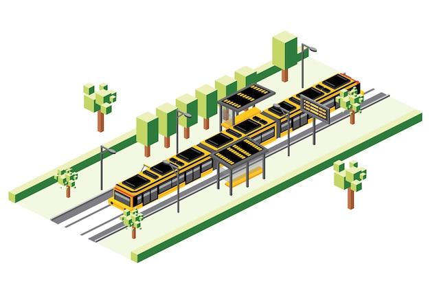 Estação de bonde isométrica isolada no branco. ilustração vetorial. trem elétrico ferroviário. cena da cidade com estrada e árvore verde.