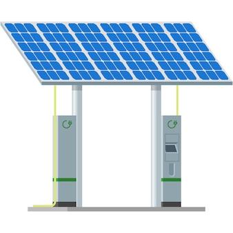Estação de carregamento de carro elétrico com vetor de painéis solares