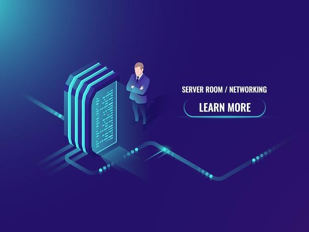 Estação de energia elétrica, gerador de energia, sala de servidores isométrica