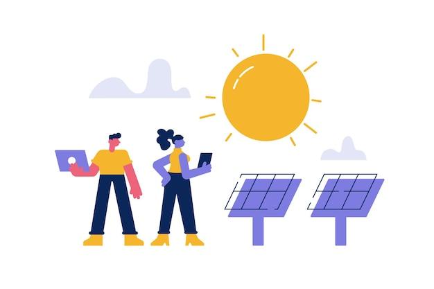 Estação de energia fotovoltaica moderna com painéis solares
