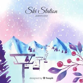 Estação de esqui aquarela