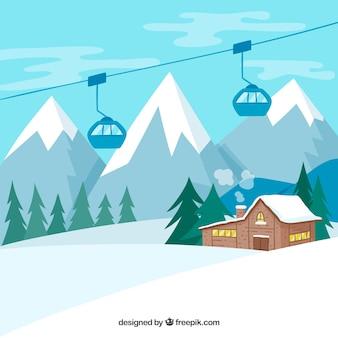 Estação de esqui desenhada a mão