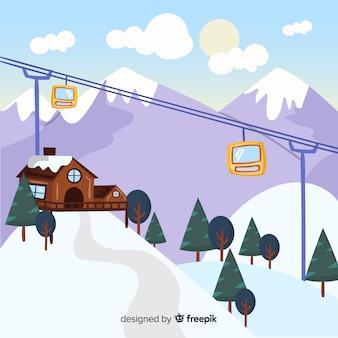 Estação de esqui desenhada à mão