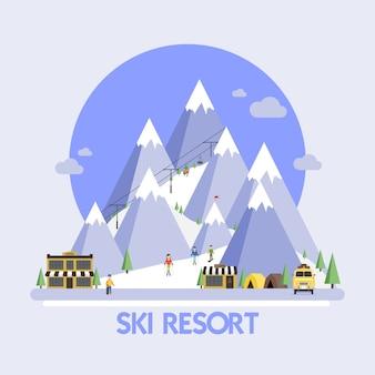 Estação de esqui. paisagens de montanha. plano