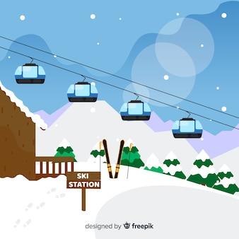 Estação de esqui plana