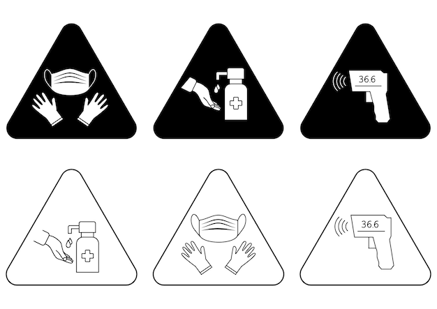 Estação de higienização. ponto de verificação de temperatura. máscara, luvas e varredura de temperatura são obrigatórios. regras do coronavírus. pode ser usado na estação ferroviária, aeroporto ou outros locais públicos. vetor