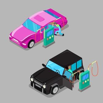 Estação de limpeza de carro isométrica. driver cleaning car