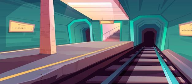 Estação de metrô, plataforma de metrô vazia