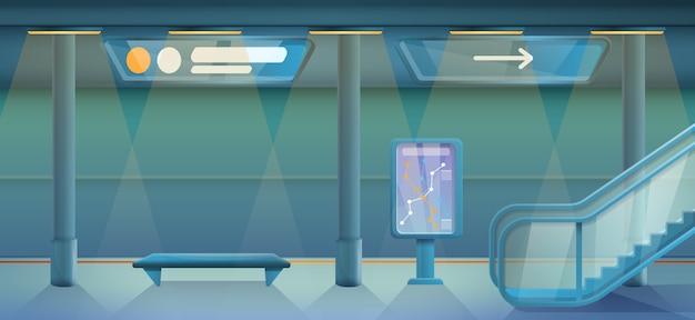 Estação de metrô vazia dos desenhos animados, ilustração vetorial