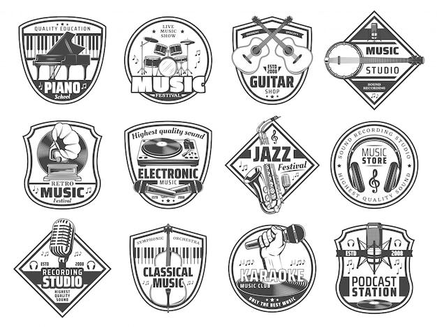 Estação de música, ícones de estúdio de gravação de som