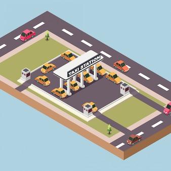 Estação de táxi em uma cidade