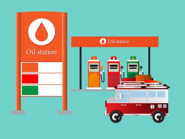 Estação de transporte de petróleo e serviços de posto de gasolina