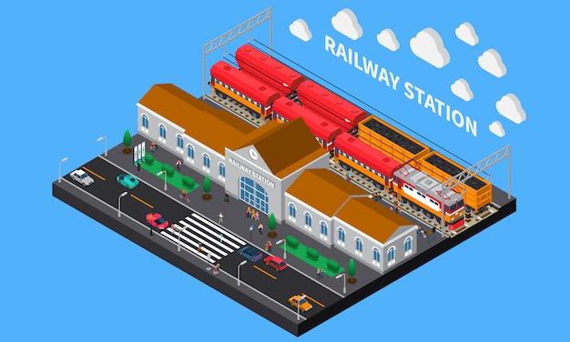 Estação de trem composição isométrica